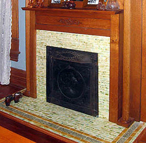 Victorian style fireplace tiles for hearth and facade