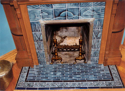 Sunset And Herons Tile Victorian Style Fireplace Tiles